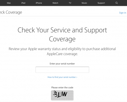 Check bảo hành Apple, check AppleCare